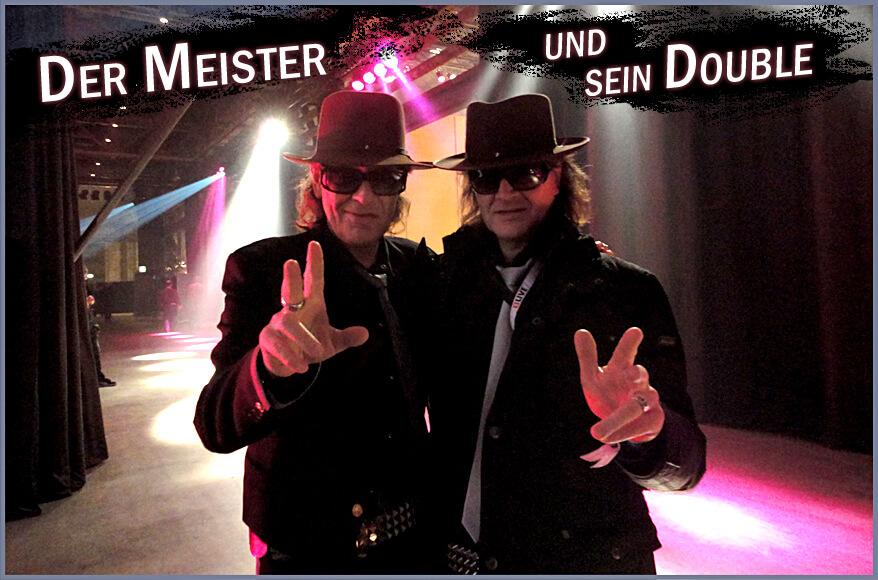"""Udo x 2: Der echte Udo Lindenberg und sein Double Karsten Bald"""" title=""""Der Meister und sein Double: Der echte Udo Lindenberg mit seinem Double Karsten Bald"""